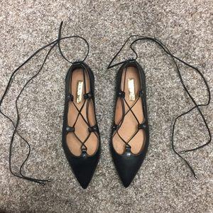 Halogen black lace up flats